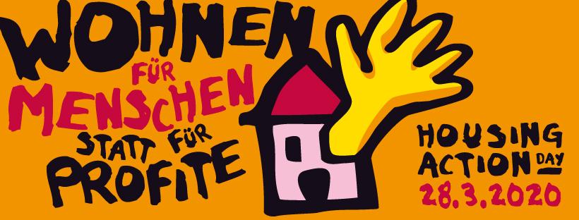 Schutz vor Corona braucht ein Zuhause! Fenster- und Online-Demonstration zum #HousingActionDay2020 am 28. März in Frankfurt
