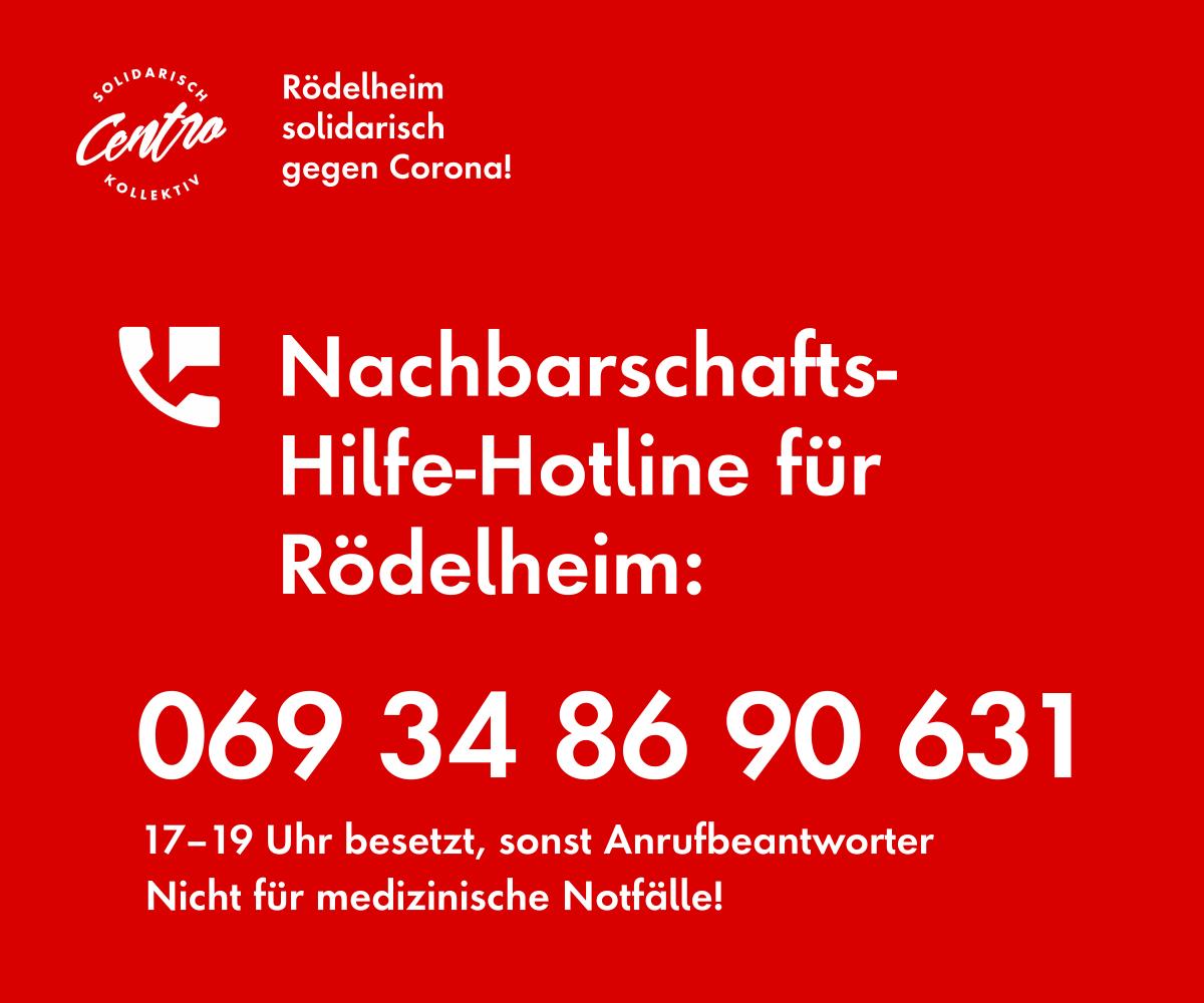 Banner mit der Hotline-Telefonnummer